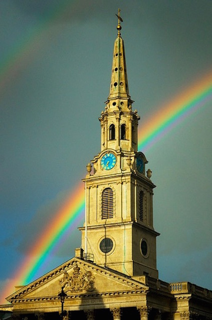 Rainbow behind St Martin-in-the-Fields, Trafalgar Square. Photo: Darrell Godliman (2009)