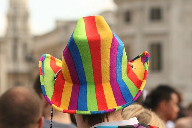 Rainbow hat at London Pride. Photo: ditaa (2010)