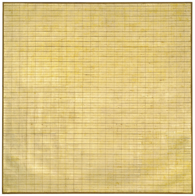 The gold leaf makes this shimmering piece one of the more eye catching works in the show. © 2015 Agnes Martin / Artists Rights Society (ARS), New York