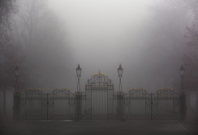 A park is only just visible beyond these gates. Copyright Albert Zhang.