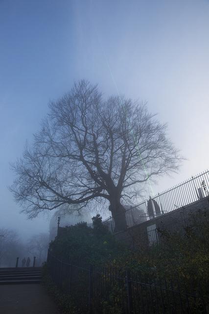 The meridian line in the fog. Copyright Albert Zhang.