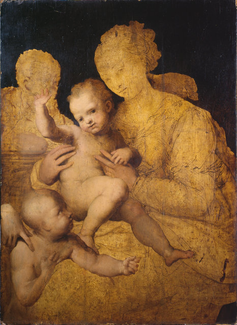 Perino del Vaga has clearly chosen to paint the infants first, leaving the adults for later - or in this case never. Copyright The Courtauld Gallery