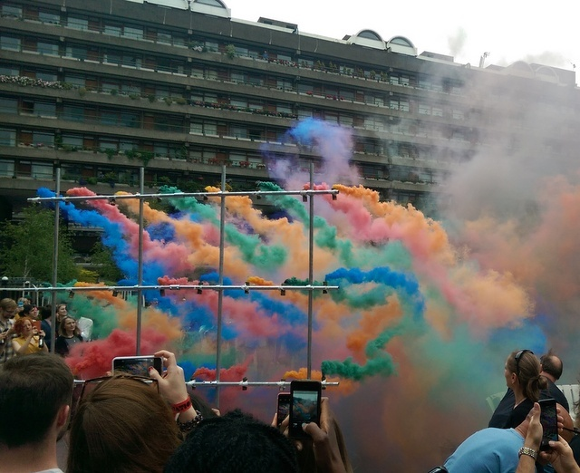 Cameras at the ready - here is the coloured smoke in action. But be quick, it only lasts about a minute. Photo Tabish Khan.