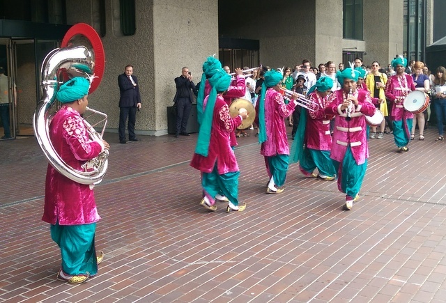 The entertaining Rajasthan Heritage Brass Band, playing on the Lakeside terrace. Photo Tabish Khan