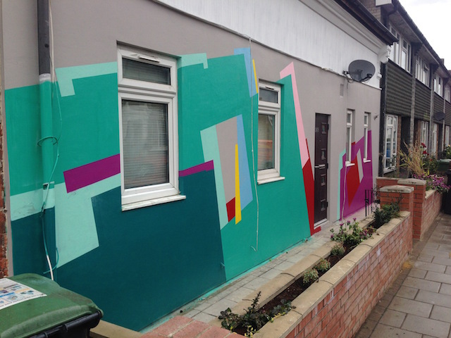 Nuria has painted this wall, with her trademark angular designs.