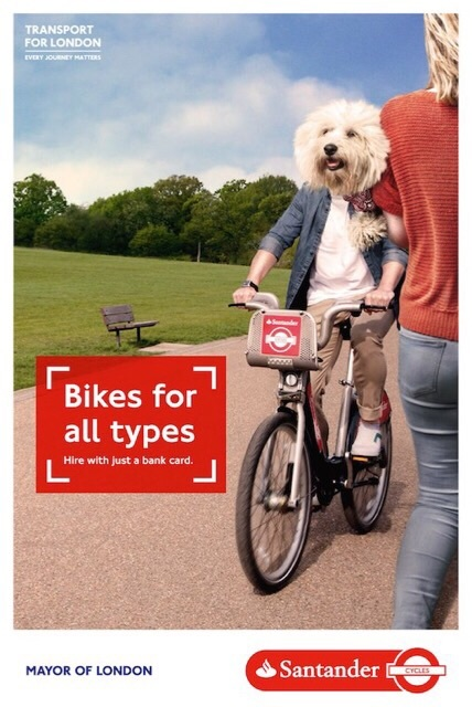 TfL's official poster for Santander Cycles featuring Monte