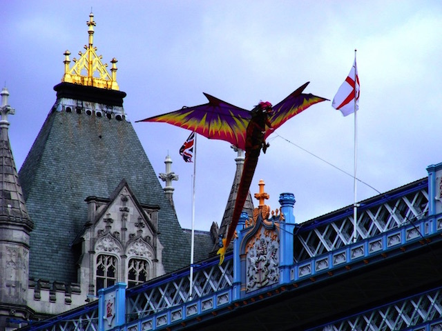 Dragon kite in front of Tower Bridge at Thames Festival. Photo: Jackie White (2011)