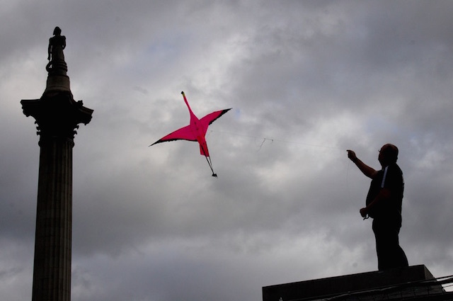Flying a kite from Trafalgar Square's Fourth Plinth. Photo: Jon Spence (2009)