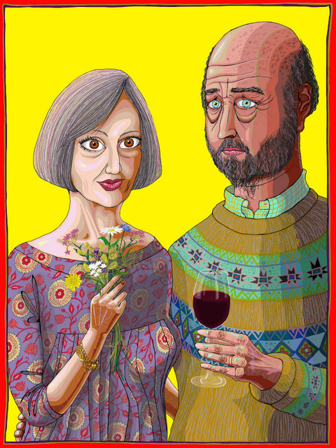 Grayson Perry presents the couple from his art installation / house in Essex. Courtesy Grayson Perry and Victoria Miro.
