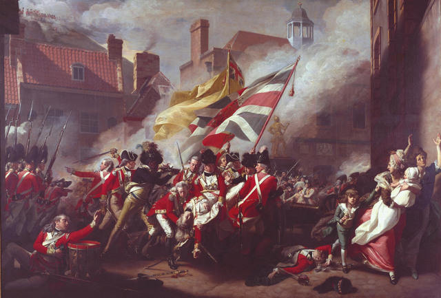 The battle scene depicts the death of Major Pierson in fighting the French in Jersey. The British won, but Pierson was shot by a French sniper © Tate