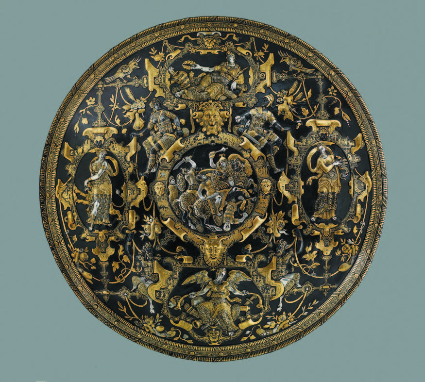 This silver plated and gold damascened shield is stunning. Figures on the border symbolise Glory, Prudence, Fame and Strength. © The Trustees of the BritishMuseum