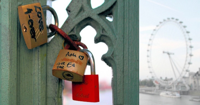 Love locks on Westminster Bridge, with the London Eye in the background. Photo: pallab seth (2013)