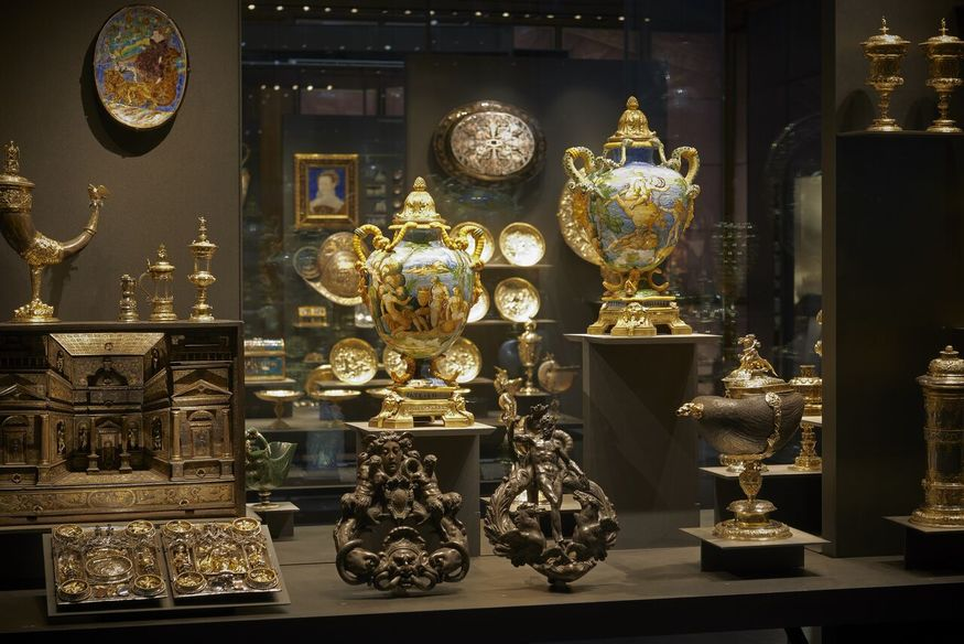 An installation view of some of the impressive ceramics that are part of this display.