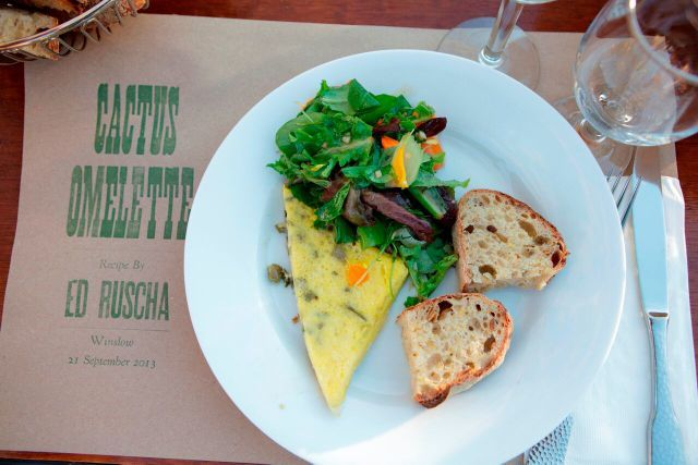 Cactus omelettes made to artist Ed Ruscha's recipe will be available to taste every Saturday at 1pm on a first come first served basis. Photo © Ye Rin Mok