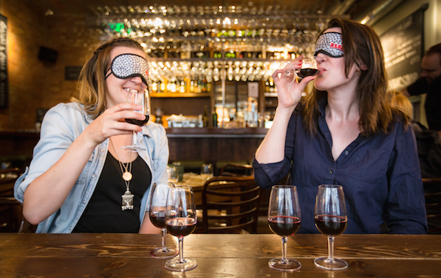 Taste wine blindfolded at Vinoteca