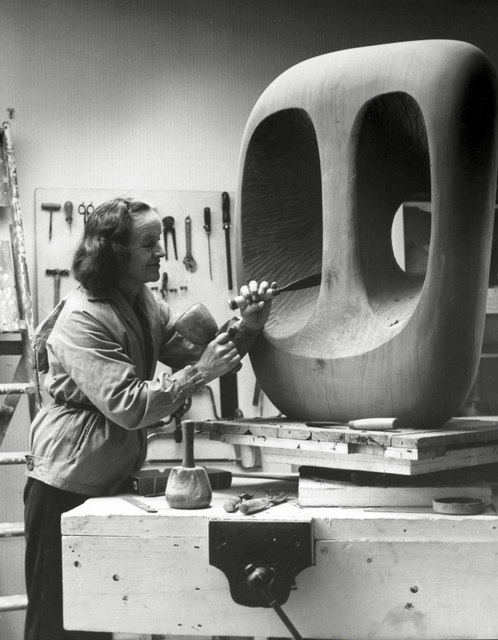 Hepworth at work in her studio in St. Ives. Photograph: Val Wilmer, © Bowness, Hepworth Estate