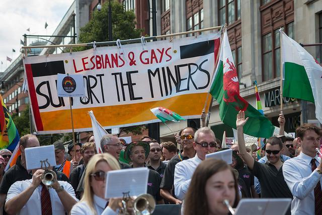 Photo by Nicolas Chinardet. The return of Lesbian and Gays Support the Miners -- of Pride (the film) fame!