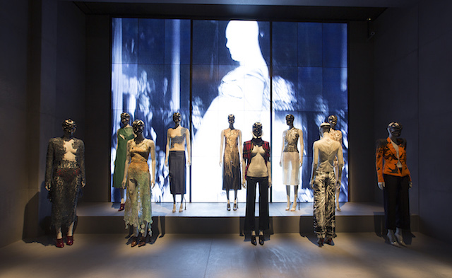 Installation view of London gallery, Alexander McQueen Savage Beauty at the V&A, copyright Victoria and Albert Museum London.