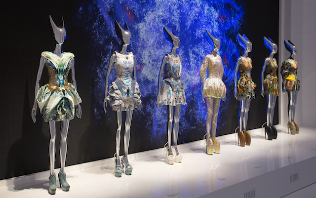 Installation view of Platos Atlantis gallery, Alexander McQueen Savage Beauty at the V&A, copyright Victoria and Albert Museum London.