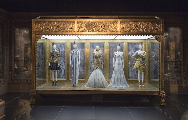 Installation view of Romantic Gothic gallery, Alexander McQueen Savage Beauty at the V&A, copyright Victoria and Albert Museum London.