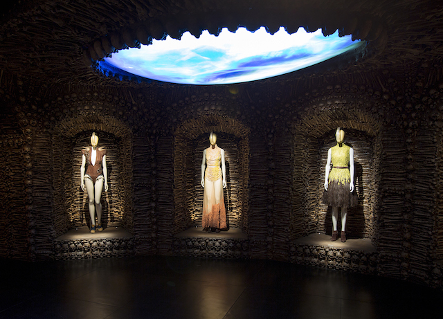 Installation view of Romantic Primitivis gallery, Alexander McQueen Savage Beauty at the V&A, copyright Victoria and Albert Museum London.