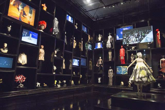 Installation view of Cabinet of Curiosities gallery, Alexander McQueen Savage Beauty at the V&A, copyright Victoria and Albert Museum London.