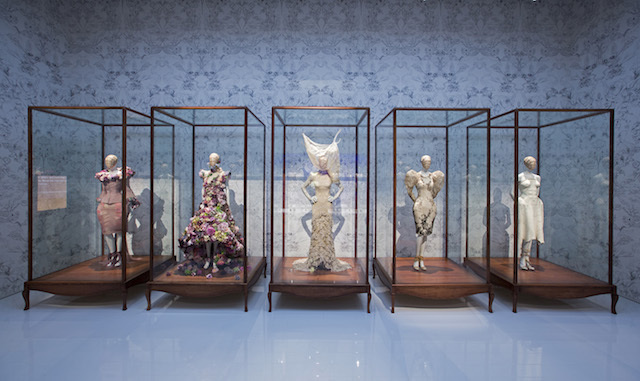 Installation view of Romantic Naturalism gallery, Alexander McQueen Savage Beauty at the V&A, copyright Victoria and Albert Museum London.