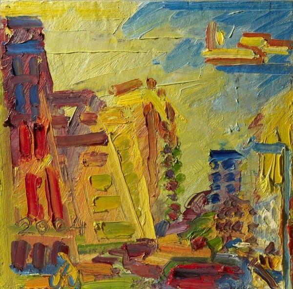 Frank Auerbach's colourful view of Mornington Crescent. Copyright Ben Uri collection.
