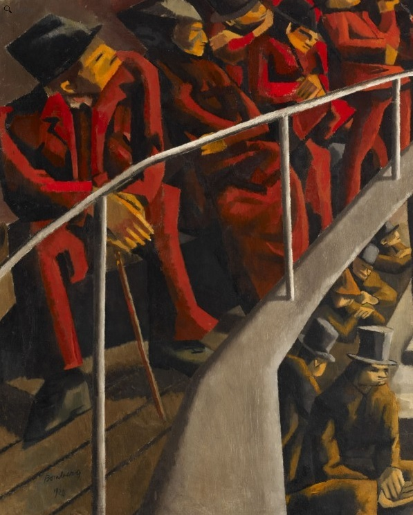 The angular lines make for striking theatre goers in this painting by David Bomberg. Copyright Ben Uri collection.