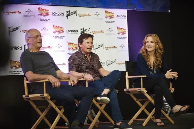 Christopher Lloyd, Michael J Fox and Lea Thompson mark 30 years of Back to the Future. Photo by Peter Schiazza / Collaborate.