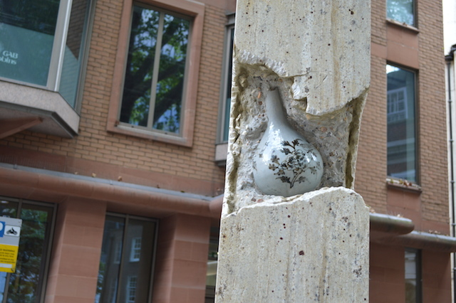 Broken Pillar n12 by Shan Hur. A delicate vase nestles inside the titular column. Oddness. Find it in front of St Helen's.