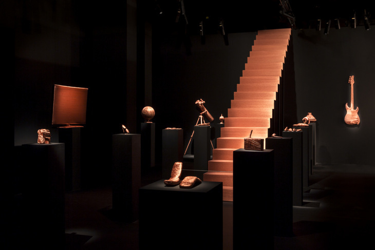 The works in situ including a staircase and a flatscreen TV. Copyright Wellcome Collection