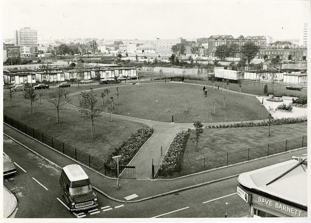 LB Hackney, Dorothy Turtle Garden, an extension of Shoreditch Park, with pre-fab housing in the distance, 1973 (photo Courtesy of Hackney Archives. Photograph by Arthur Wright)