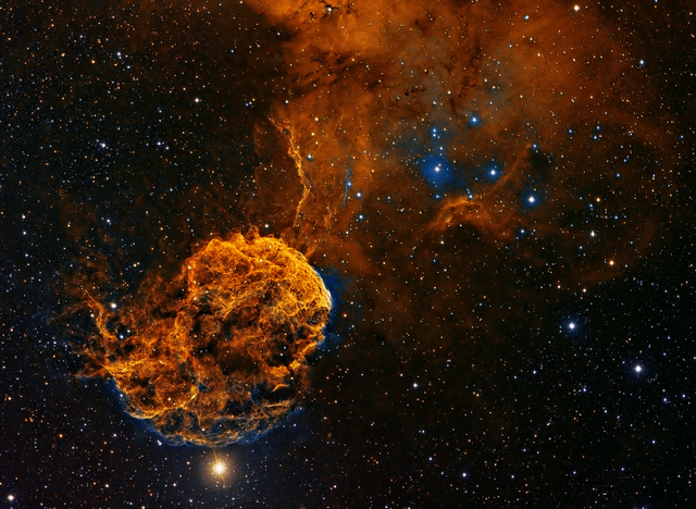 At over 5,000 light years from Earth, this is about as close as we'll get to the spectacular Jellyfish nebula.  © Patrick Gilliland