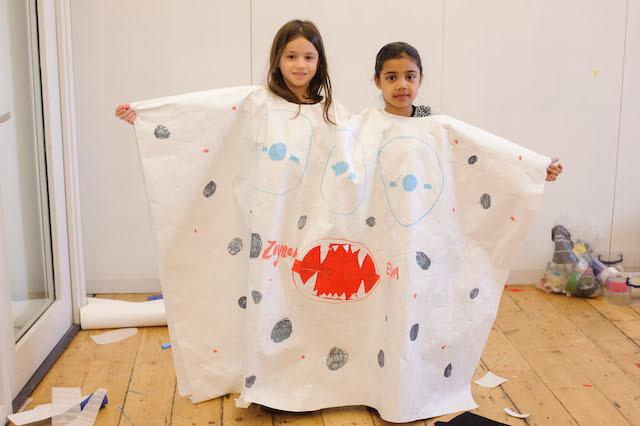 Two headed monster cape designed during children's 'fears' workshop with Rivane Neuenschwander. Photo: Richard Eaton