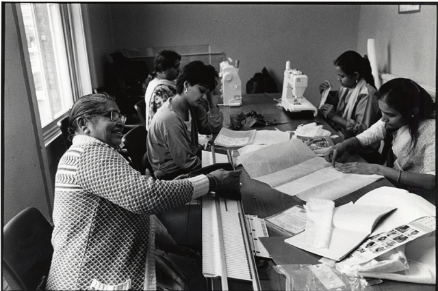 LB Islington, women sewing at the Asian Resource Centre, 1991 (Courtesy of Islington Local History Centre. Photograph by Jenny Matthews)
