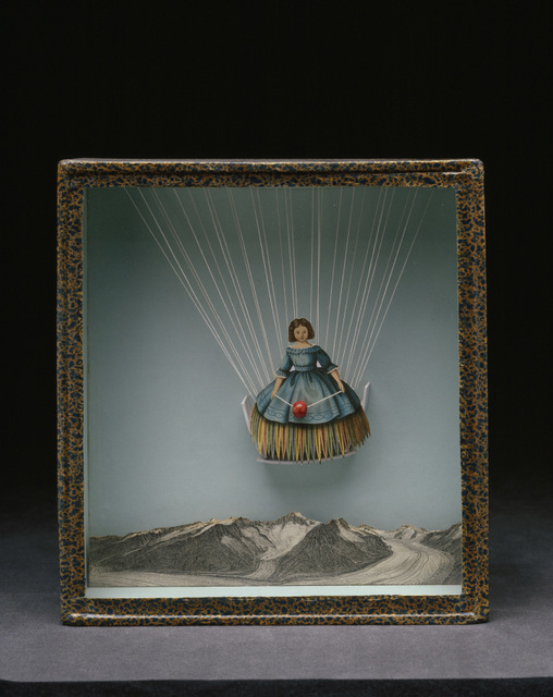 This doll like figure seems to be floating as if part of a parachute or hot air balloon. (c) The Joseph and Robert Cornell Memorial Foundation/VAGA, NY/DACS