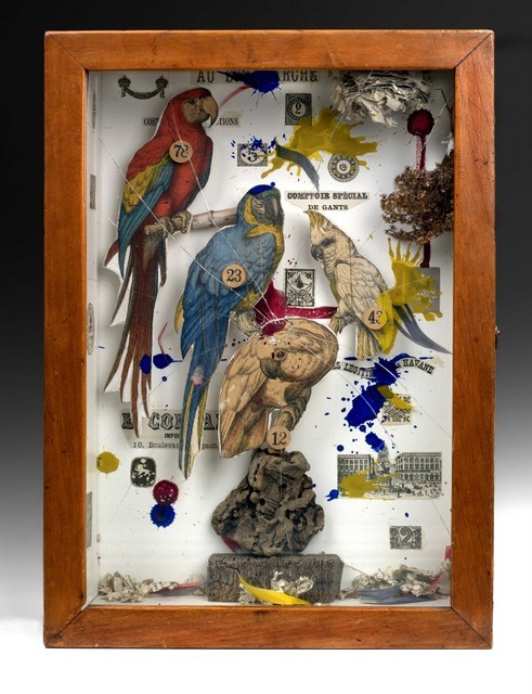 One of the many bird based cabinets on display. (c) The Joseph and Robert Cornell Memorial Foundation/VAGA, NY/DACS