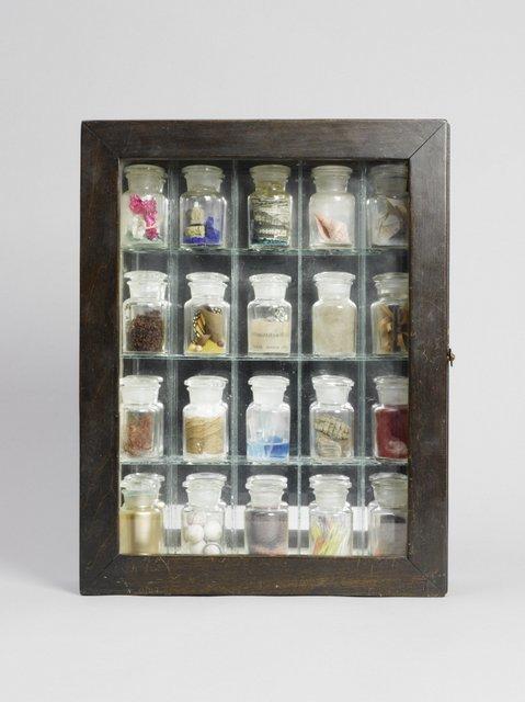 Joseph Cornell's pharmacy cabinet made long before Damien Hirst had a similar idea (c) The Joseph and Robert Cornell Memorial Foundation/VAGA, NY/DACS