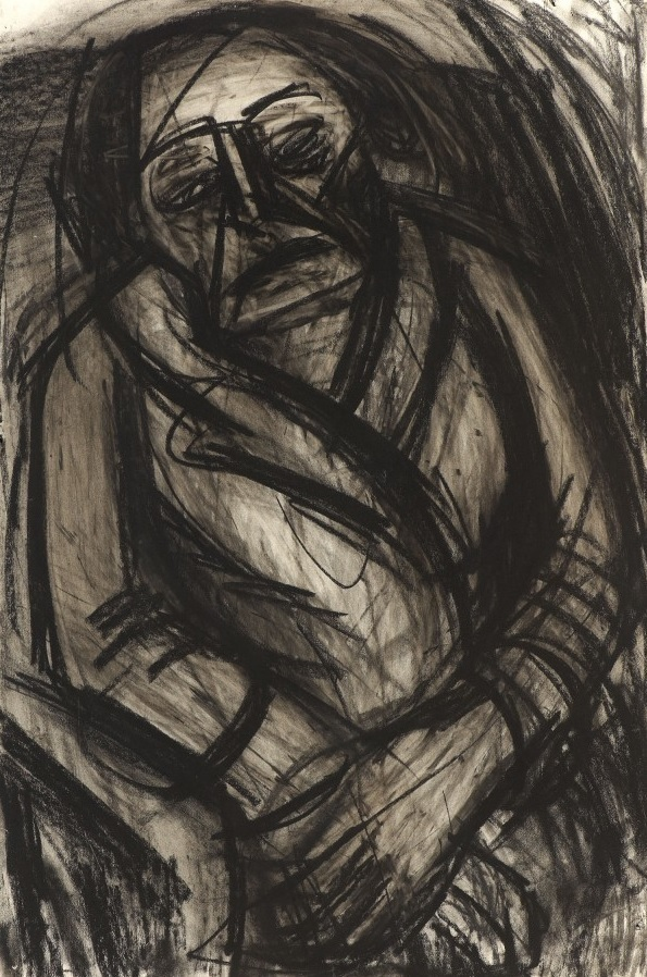 A dark portrait in Leon Kossoff's signature style. Copyright Ben Uri collection.