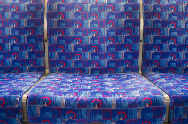Central Line moquette. Photo by  KrisWould from the Londonist Flickr pool.