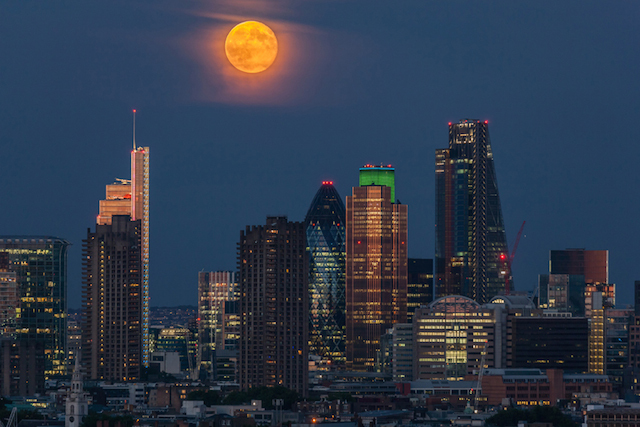 Moonrise over the City, July 2014. Taken on the night of the World Cup Final, from Camden.