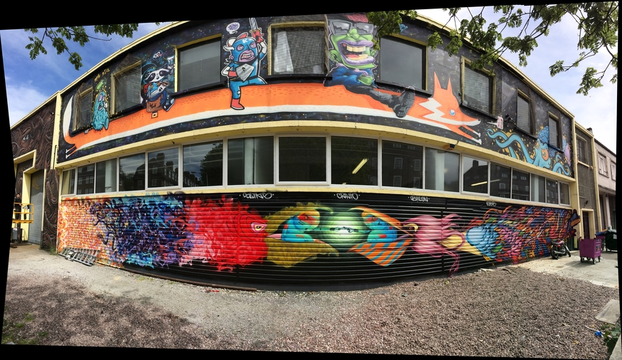 This second GSA mural funded by the lottery grant is in Cambridge Heath. It was painted by 12 artists from four countries over four days.