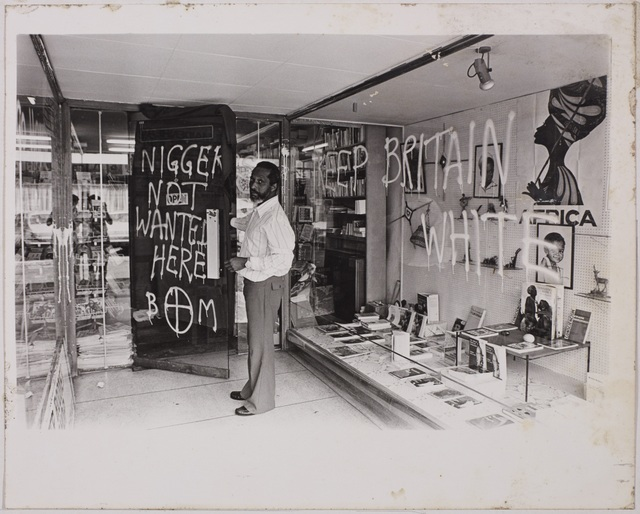Photograph of a bookshop after a racist attack. Courtesy London Metropolitan Archives.