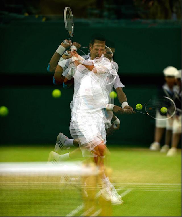 Novak Djokovic shows off at Wimbledon. Photo: Mike King (2012)