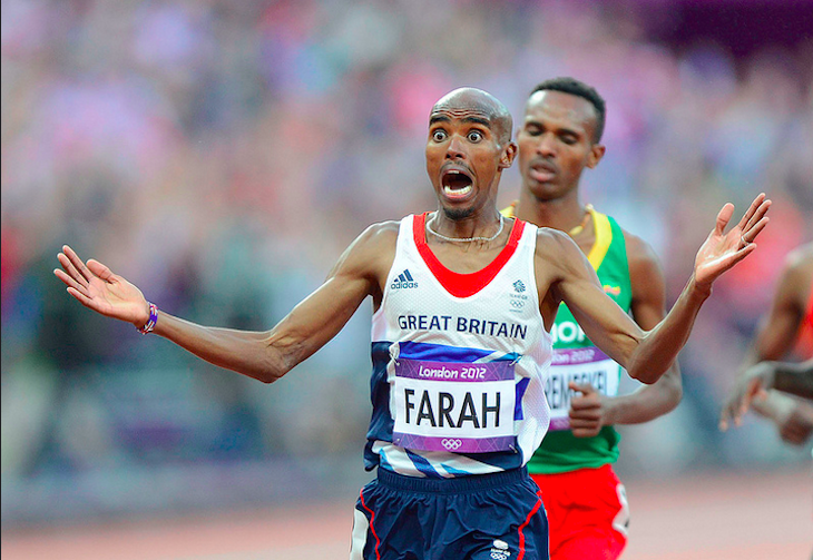 Ecstatic - the moment Mo Farah won the Men's 5000m Final. Photo: Mike King