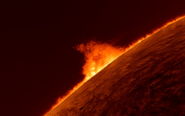 A solar prominence on the surface of the fiery ball that is our sun.  ® Gary Palmer
