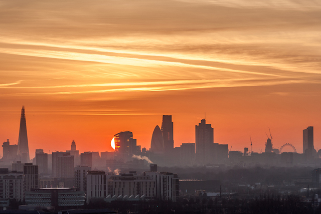 Sun behind the City, December 2014. Mid-winter from Leytonstone.