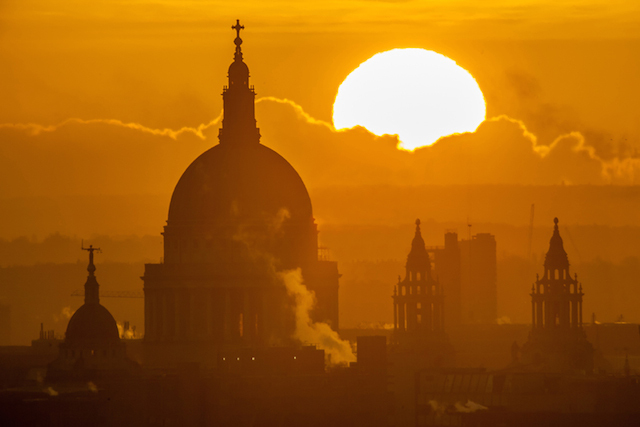 Sunrise over St Paul's, January 2015. Taken from the same apartment as Sunrise by the Shard, but one winter later. It took seven separate visits before I managed to nail this shot.