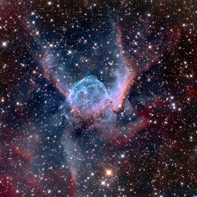 The official name for this nebula is NGC 2359 but we prefer its catchier and well suited other name of Thor's Helmet. ® Adam Block